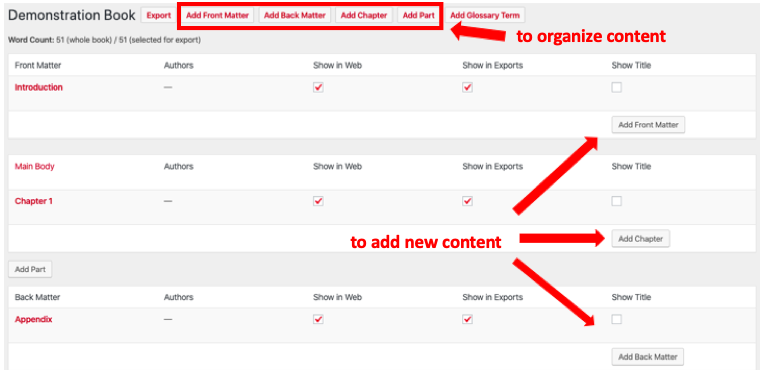 """Screenshot of """"Organize"""" Page from the PressBooks authoring dashboard"""