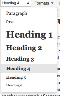 Heading Examples from Pressbooks Visual Style Editor