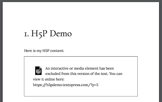 Screenshot of a PDF of a Pressbooks page with H5P content on it. This will display a link for readers to view the content onlin.e.
