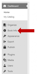 Screenshot directing to Book Info option in left menu