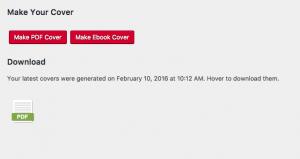 Screenshot showing to select Make PDF or Make Ebook cover options