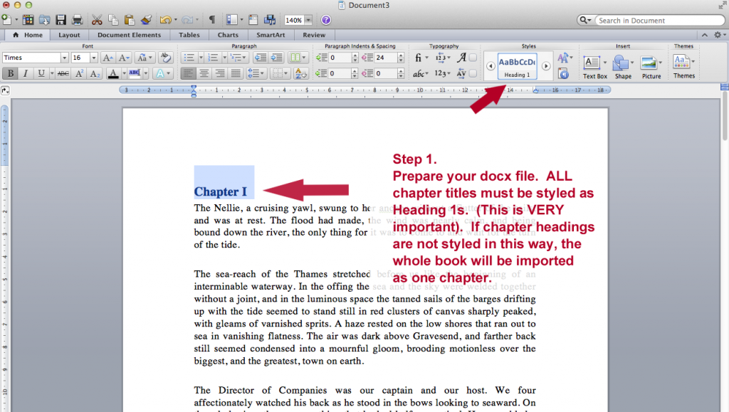 Step 1 Set Up Your docx File with Heading 1 used to identify chapters