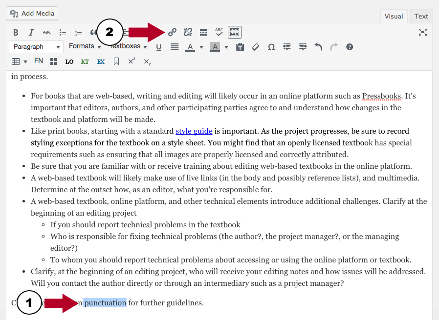 Screenshot showing to Highlight text and select the link icon in the text editor