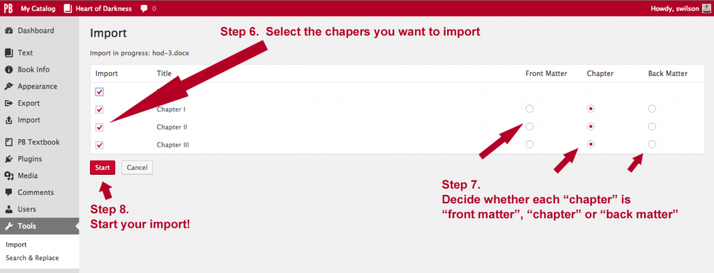 Screenshot directing to select chapters, add to specific Parts of the book, and Save