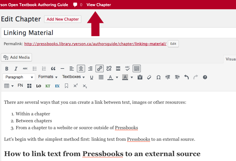 Screenshot showing to select View Chapter to retrieve chapter link. Anchor link is added at the end of this to use to link to anchor on separate page.