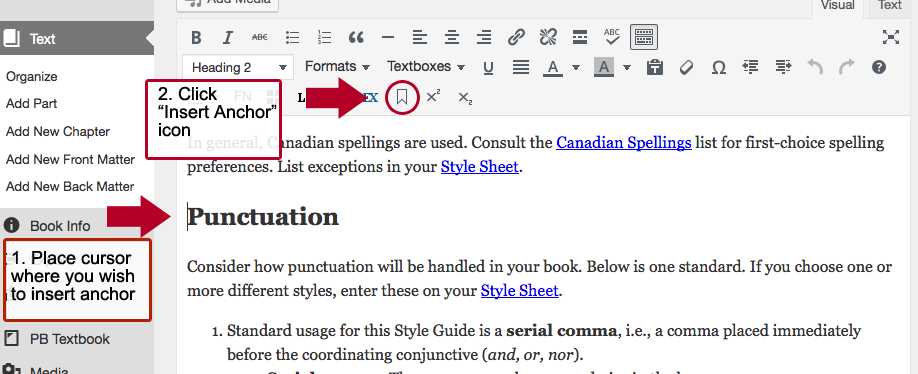 Screenshot showing to place cursor and then select Insert Anchor option from text editor