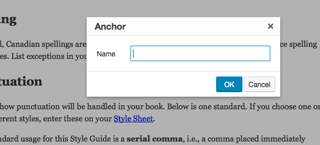 Screenshot of where to add anchor name after selecting this option from the text editor